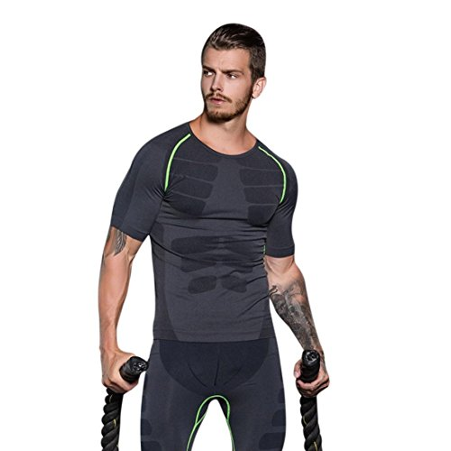 Mens Sports Top ! Charberry Mens Quick Drying Compression Pants Skinny Sports Top Workout Leggings Fitness Sports Running Yoga Athletic Shirt Top Blouse (US-L /CN-XL, Green)