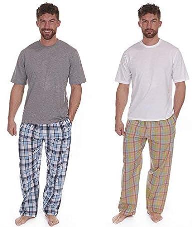 Best Deals Direct UK Pijamas para Hombre Set Top Manga Corta & Tejido Largo Pantalones De Chándal Verano: Amazon.es: Ropa y accesorios