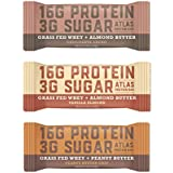 Atlas Bar - Keto/Low Carb Friendly Protein Bar, Variety Pack, 2.01 Ounce (9-Pack, 3 of Each Flavor) — Grass Fed Whey, Low Sugar, All Natural, Gluten Free, Soy Free, GMO Free and Sugar Alcohol Free