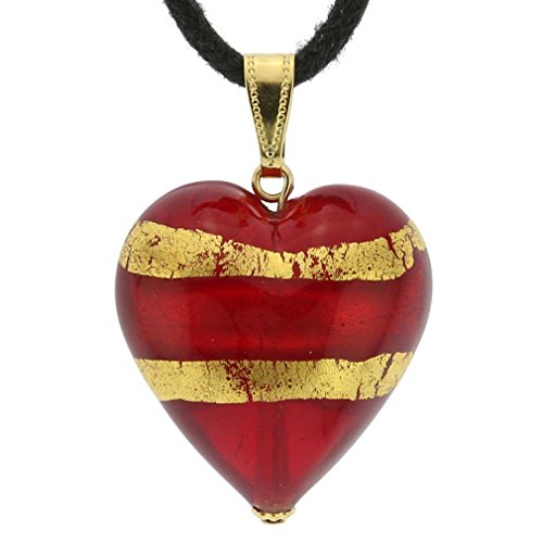 GlassOfVenice Murano Glass Heart Pendant - Red and Gold - Red Murano Glass Pendant