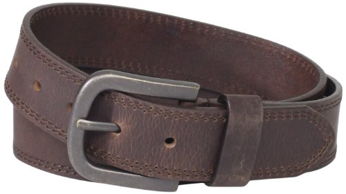 Dickies Mens Leather Belt With Two Row Stitch, Brown