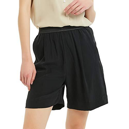 NEW DANCE Women's Silk Shorts Bottoms 19MM Elastic Waist Pull-on Cargo Bermuda Shorts with Pockets,Black,Large ()