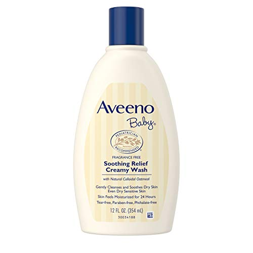 Aveeno Baby Soothing Relief Creamy Wash with Natural Colloidal Oatmeal for Dry & Sensitive Skin, Hypoallergenic & Tear-Free Formula, 12 fl. Oz (Pack of 2) (Best Baby Soothing Products)