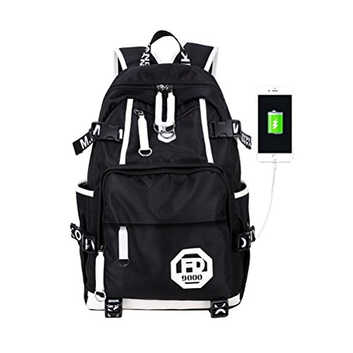 Kalakk School Bag Women Men Usb Waterproof Laptop School Bag Teenagers Geometric Backpack Flower Backpack by Kalakk