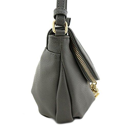 Grey Tassel Accent Small Half Bag Moon Crossbody BYRnYrqAw