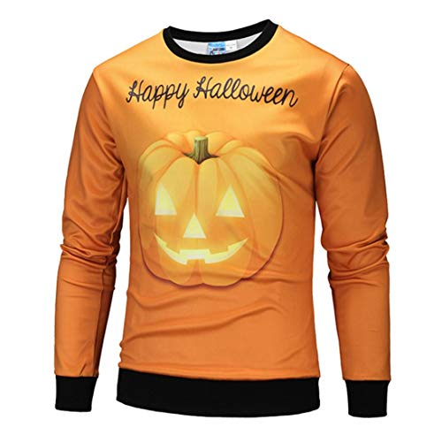 kaifongfu Men Scary Halloween Tops with Pumpkin 5D Print Long Sleeve Party Hoodie Blouse(Orange,M)