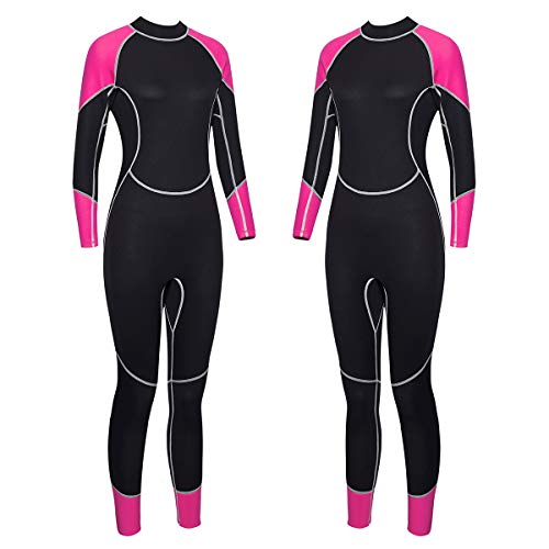 Niiwi Women Full Body Wetsuit - 2.5mm Premium Neoprene Scuba Diving Suit for Water Activities (Pink/Black, S)
