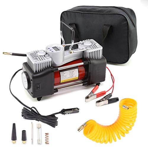 YORKING Dual Cylinder Air Compressor Pump, Heavy Duty Portable Air Pump, Auto 12V Tire Inflator for Car, Truck, RV, Bicycle and Other Inflatables Fast Pumping with LED Work Lights