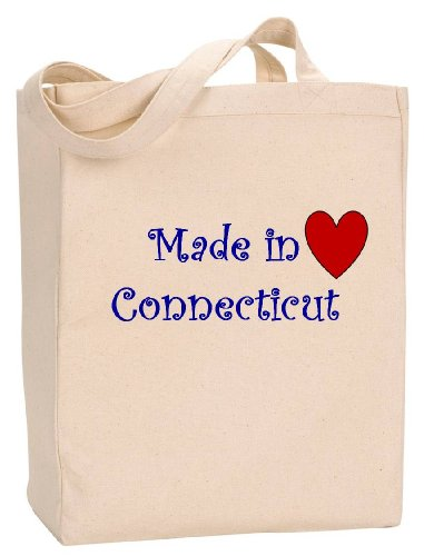 MADE IN CONNECTICUT - State Series - Natural Canvas Tote Bag with - Shopping Stamford Connecticut