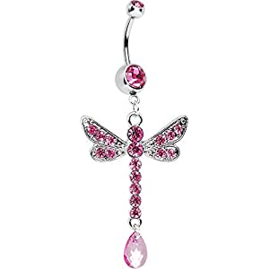 Pink Darling Dangle Drop Dragonfly Belly Ring
