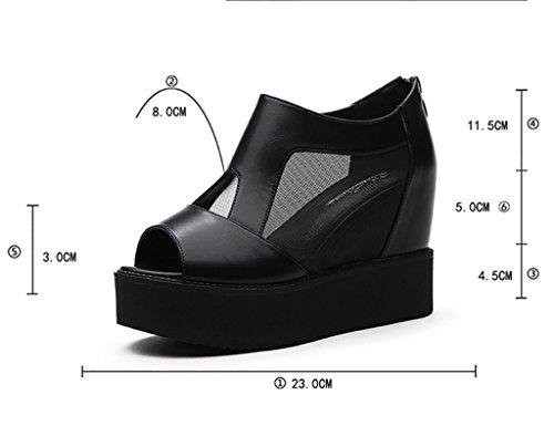 pescado Zapatos gruesos de HWF Zapatos mujer de de boca de malla bajos de malla tacones mujer solo en Negro Color Tamaño y Zapatos mayor Negro de aumento 35 para Sandalias qOTr0w8q