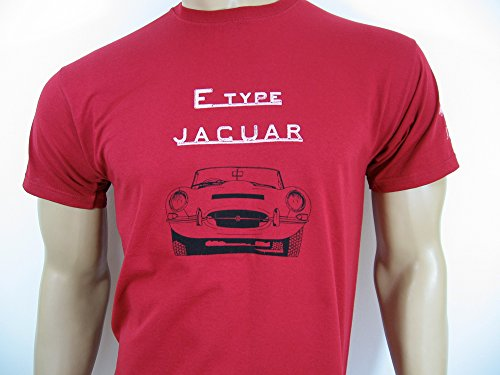Jaguar E T-Shirt (Classic rot) in Größe Medium (36 bis 96,5 cm) – Serie 1, 1 _ & 2 – Classic Roadster Coupe XKE –