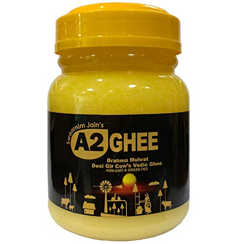 Gir Cow A2 Ghee 16.9oz - Swaarnim Jains' A2 Brahma Muhurta Ghee 500ml - Probiotic Properties - 0% Trans Fat - Grass-Fed - Non-GMO - Made in Brahma Muhurta - Pure & Purifying