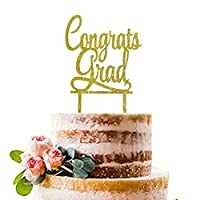 Gold Congrats Grad Cake Topper | Acrylic Graduation Cake Toppers 2018 | Graduation Cake Decorations | Grad Party Decorations | Graduation Party Supplies