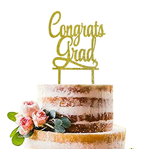 Gold Congrats Grad Cake Topper | Acrylic Graduation Cake Toppers 2019 | Graduation Cake Decorations | Grad Party Decorations | Graduation Party Supplies -