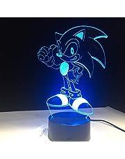 Anime Sonic The Hedgehog Figure 3D LED Table Lamp Flash Effect 7 Colorful Acrylic Visual Illusion USB LED Lights Kids Sleep Lamp