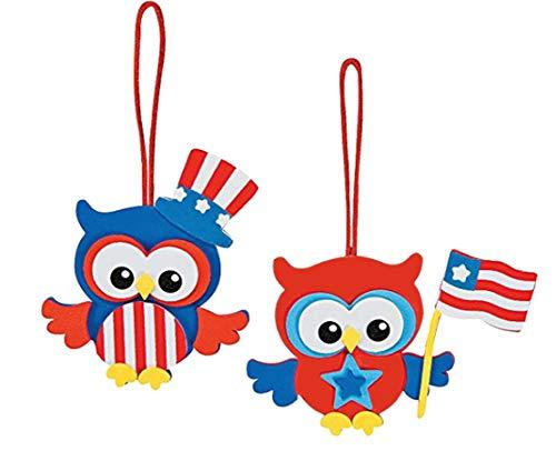 Foam Patriotic Owl Ornament Craft Kit (Makes 12) 4th Of July ()