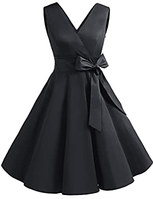 Dresstells Vintage 1950s Solid Color V Neck Retro Swing Dress With Bow Tie