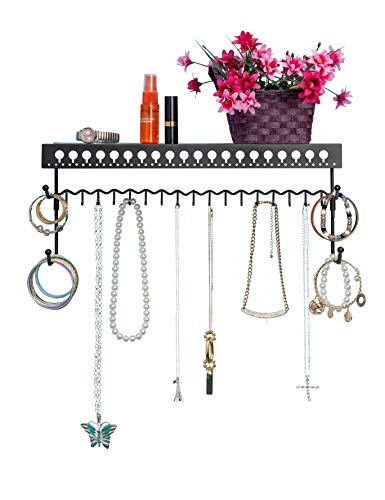 Mango Steam Wall-Mounted Jewelry Organizer Shelf (17 Inch, Black) (Best Shelves For Manga)