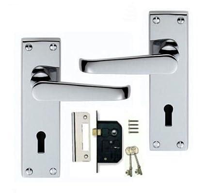 Henderson - Pomo para puerta con cerradura (latón pulido, incluye embellecedor de 150 x