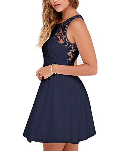Celmia Summer Lace Backless Party Dress Wedding Cocktail Graduation Mini Dresses Navy XL