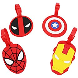 Finex Set of 4 - Avengers Deadpool Travel Luggage ID Tag for Bags Suitcases with Adjustable Strap