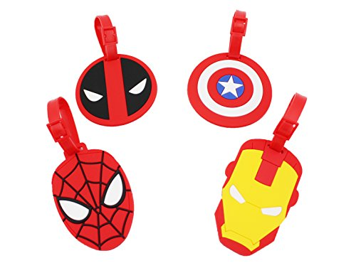 Finex Set of 4 - Avengers Deadpool Travel Luggage ID Tag for Bags Suitcases with Adjustable Strap]()