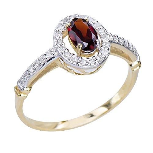 Gorgeous Womens Natural Garnet Gemstone 9K Yellow Gold Diamond Statement Ring 9k Yellow Gold Garnet Ring