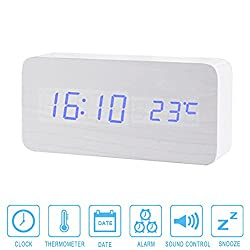 Wooden Alarm Clock, Colisivan Upgrade Edition Multi-function Wooden Alarm Clock LED Digital Displays Time Date And Temperature Desk Clock Shelf Clock with Sound Control (White Wooden)