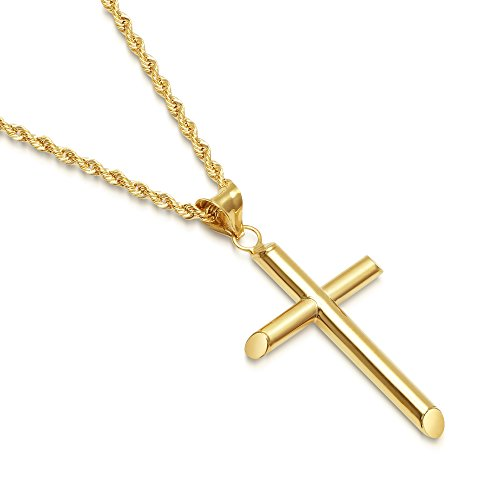 Solid 14K Gold Cross Pendant Italian Rope Chain Necklace - Small - 18