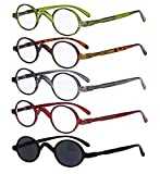 5-Pack Eyekepper Spring Temple Vintage Mini Small Oval Round Reading Glasses Include Sunshine Readers +1.0