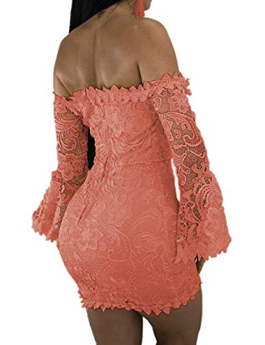Sexy Floral Sleeve Club Shoulder Bodycon Off Dress Mini Party FairBeauty Women's Lace Dress Coral Flare qTwpFF