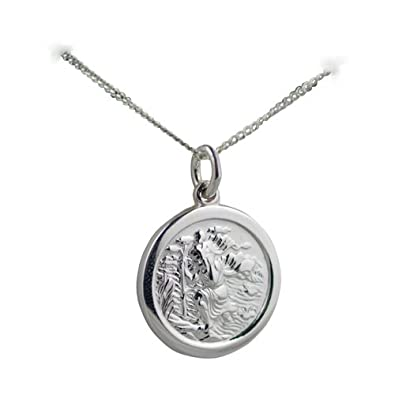 Silver 20mm round st christopher pendant with a 13mm wide curb silver 20mm round st christopher pendant with a 13mm wide curb chain 18 inches amazon jewellery mozeypictures Gallery
