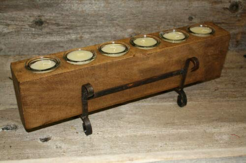 JumpingLight 6 Hole Wooden Sugar Mold Wood Candle Holder Primitive Clear Glass Votives Cast Iron Decor for Vintage Industrial Home Accessory Decorative ()