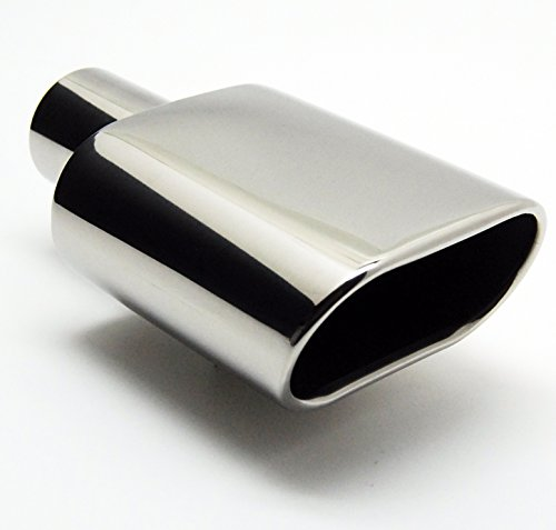 Exhaust Tip 2.25 In Inlet 6.0 X 2.25 In Outlet 9.00 In Long Rolled Oval Angle Stainless Steel W55009-225-SSRS Wesdon Exhaust Tip - Oval Exhaust Tips