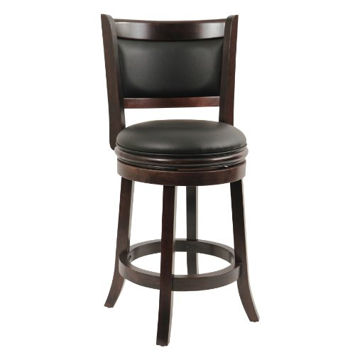 Boraam 48824 Augusta Counter Height Swivel Stool, 24-Inch, Cappuccino
