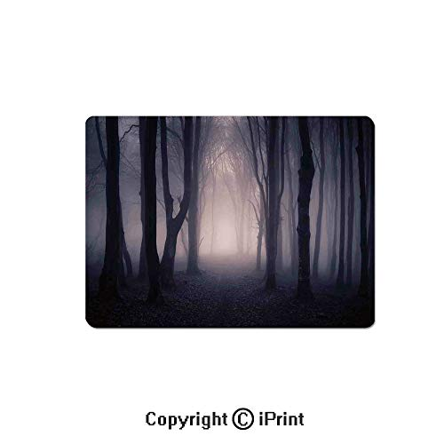 Gaming Mouse Pads, Path Through Dark Deep in Forest with Fog Halloween Creepy Twisted Branches Picture Non Slip Rubber Mousepad,7.1x8.7 inch,Pink Brown -