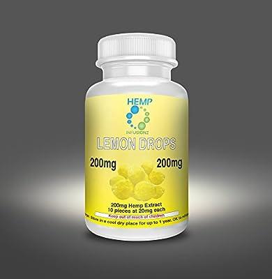 Hemp Infusionz 200mg Lemon Lozenge Hemp Extract Edible Candy 20mg Hemp Per Piece 10 Hemp Pieces Per Bottle NO CANNABIS Hemp Isolate Candy Known To Help As Sleep Aid, Anxiety Relief, PTSD, Pain Reducer