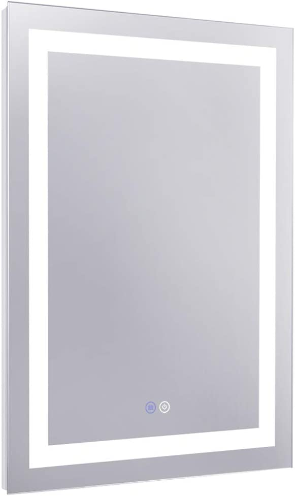 Chende 20 x 28 Inches Anti Fogging LED Bathroom Mirror for Wall, Dimmable Large Vanity Mirror with Lights for Bedroom, Dressing Room, Rectangle Wall Frameless Mirror, Horizontal/Vertical