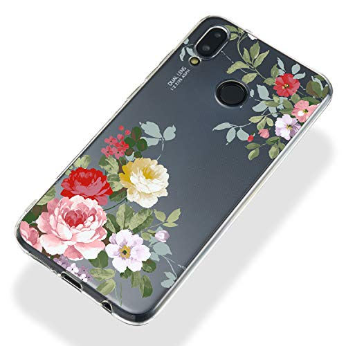 Soft Clear Case for Huawei P20 Lite,Flexible Plastic Case for Huawei P20 Lite,Moiky Creative Diagonal Green Branch Peony Printed Ultra Thin TPU Silicone Transparent Crystal Slim Fit Back Cover Case by MOIKY (Image #4)