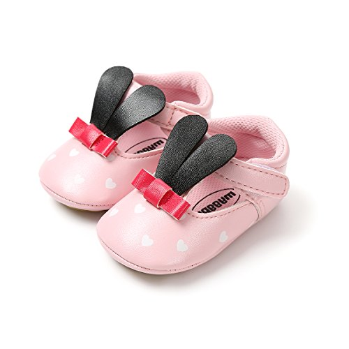 Meckior Infant Baby Girls Mary Jane Flat PU Leather Soft Sole Rabbit Princess Shoes (13-24 Months, A-Pink Black) -