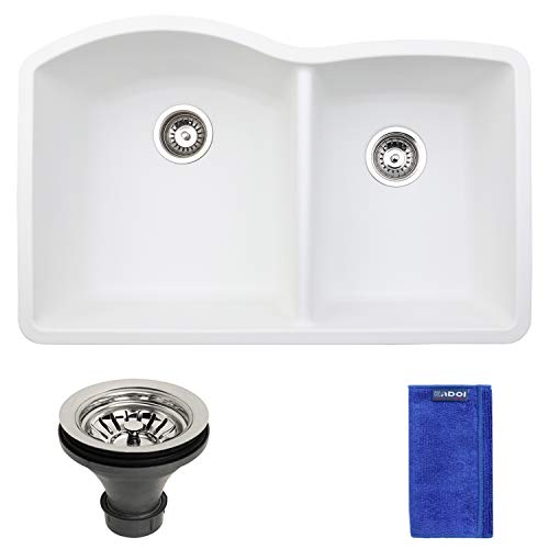 Enbol GDS-3221-W, 32 Inch White Color 60/40 Double Bowl Highly Durable Granite Composite Quartz Undermount Kitchen Sink,with Elegant Curve and Round Corner for Easy Clean