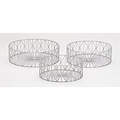 "Deco 79 65556 Metal Silver s Storage Basket (Set of 3), 10""/12""/13""W - Suitable to use as a decorative item Unique home decor Manufactured in China - living-room-decor, living-room, baskets-storage - 41QwChmlx0L. SS400  -"