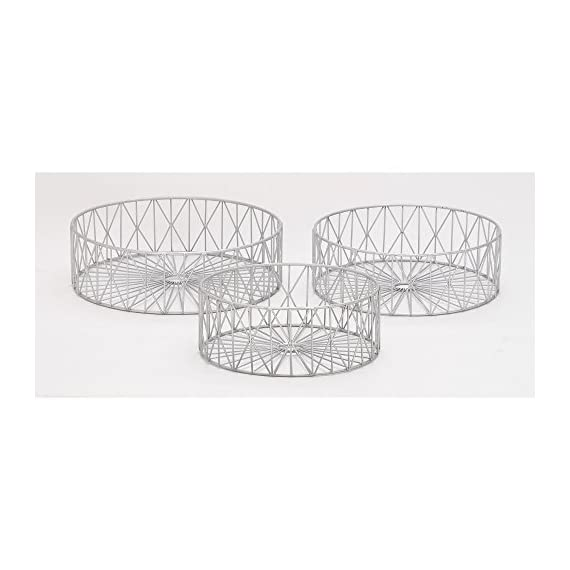 "Deco 79 65556 Metal Silver s Storage Basket (Set of 3), 10""/12""/13""W - Suitable to use as a decorative item Unique home decor Manufactured in China - living-room-decor, living-room, baskets-storage - 41QwChmlx0L. SS570  -"