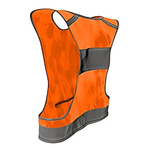The 247 Viz Reflective Vest With Inside Pocket & 2 High Visibility Running Safety Bands, Neon Orange, XX-Large