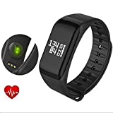 F1 Smart Bracelet Watch Heart Rate Monitor Smart Band Wireless Fitness Smart Wctch Blood Pressure Watch for Android IOS Phone (Black)