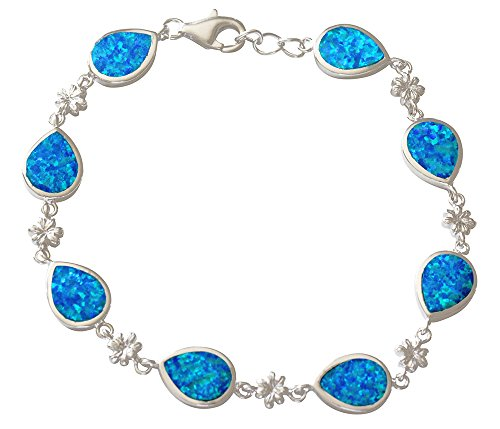 (Sterling Silver Created Blue Opal Plumeria And Raindrop Adjustable Bracelet 8