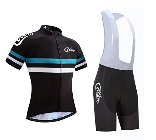 - Celero Men's Cycling Suits Short Sleeve Bike Jersey and Bib Shorts(Blue,XL)