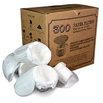 Optional K-cup Paper Filter with Lid compatible with Keurig, Ekobrew, EZ-Cup Reusable K-CUP and other Reusable Coffee Filters