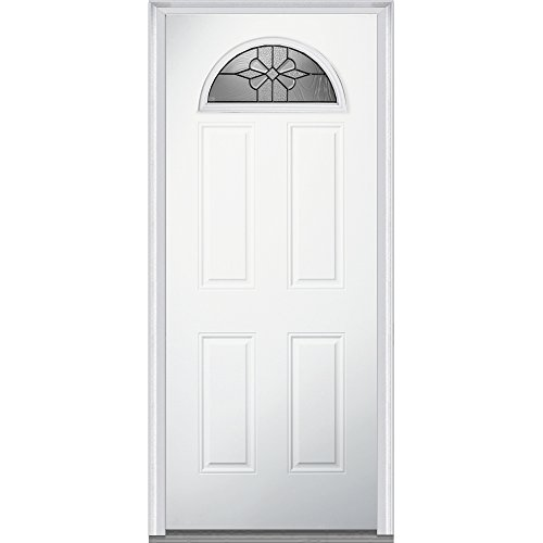 National Door Company Z021370L 1/4 Lite 4-Panel Dahlia Decorative Glass Steel Primed 32''x80'' Left Hand In-swing Prehung Front Door by National Door Company